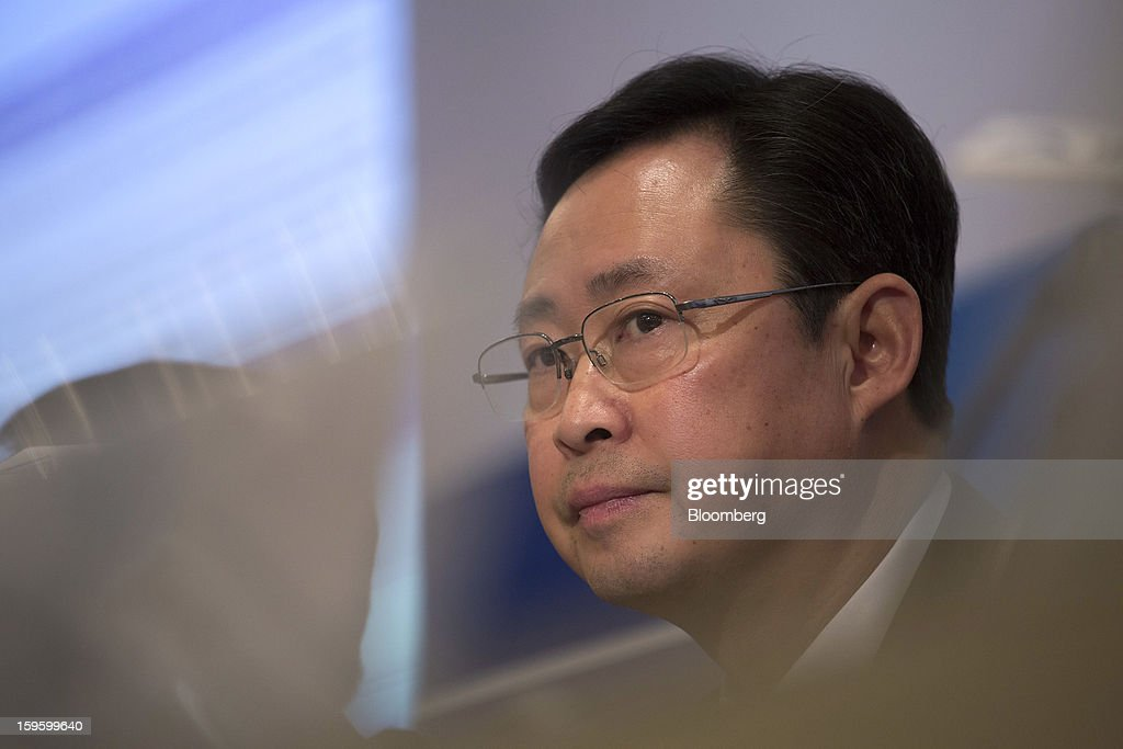 Xiong Weiping, chairman of Aluminum Corp. of China Ltd. (Chinalco) and Chinalco Mining Corp. International, attends Chinalco Mining's initial public offering news conference in Hong Kong, China, on Thursday, Jan. 17, 2013. Chinalco Mining, a unit of China's biggest aluminum producer, plans to raise as much as $435 million in an initial public offering in Hong Kong to fund its copper project in Peru. Photographer: Jerome Favre/Bloomberg via Getty Images