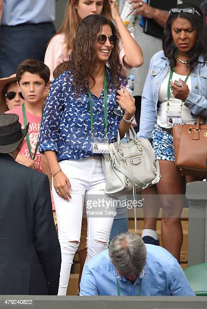 Xisca Perello attends the Dustin Brown v Rafael Nadal match on day four of the Wimbledon Tennis Championships at Wimbledon on July 2 2015 in London...