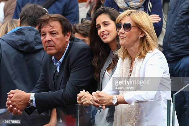 Xisca Perello girlfriend of Rafael Nadal mother Ana Maria Parera and father Sebastian Nadal watch on after Rafael Nadal of Spain lost to Novak...