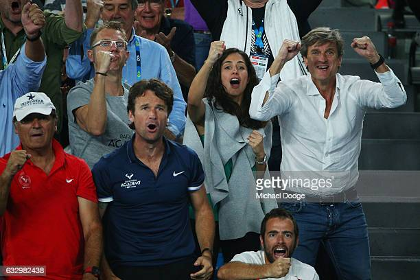 Xisca Perello girlfriend of Rafael Nadal of Spain celebrates him play his Men's Final match against Roger Federer of Switzerland on day 14 of the...