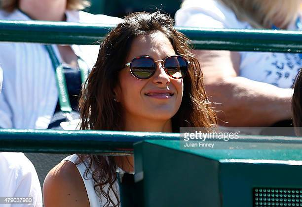 Xisca Perello girlfriend of Rafael Nadal of Spain looks on during his Gentlemen's Singles first round match against Thomaz Bellucci of Brazil on day...