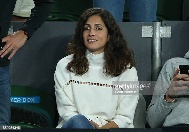 Xisca Perello girlfriend of Rafael Nadal of Spain watches him play in his second round match against Marcos Baghdatis of Cyprus on day four of the...