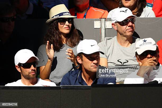 Xisca Perello girlfriend of Rafael Nadal of Spain watches him play his third round match against Alexander Zverev of Germany on day six of the 2017...