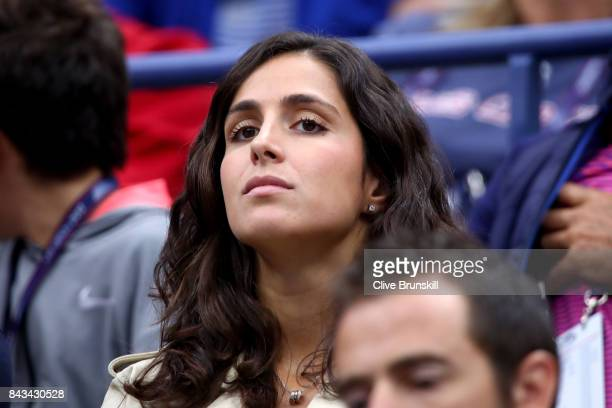 Xisca Perello watches Andrey Rublev of Russia play against Rafael Nadal of Spain in the Men's Singles Quarterfinal match on Day Ten of the 2017 US...