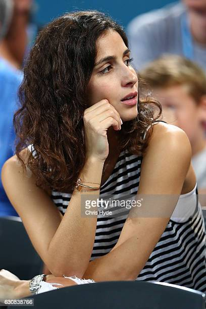 Xisca Perello watches boyfriend Rafael Nadal of Spain play against Alexandr Dolgopolov of Ukraine on day three of the 2017 Brisbane International at...