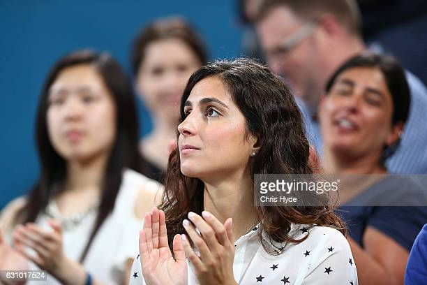 Xisca Perello watches boyfriend Rafael Nadal of Spain play his quarter final match against Mischa Zverev of Germany during day five of the 2017...