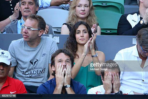 Xisca Perello watches the Men's Final match between Roger Federer of Switzerland and Rafael Nadal of Spain on day 14 of the 2017 Australian Open at...