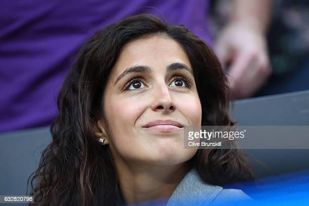 Xisca Perello watches the semi final match between Rafael Nadal of Spain and Grigor Dimitrov of Bulgaria on day 12 of the 2017 Australian Open at...