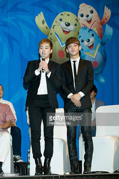 Xiumin Chen of boy band EXOM attend the press conference for the 17th Asian Games Incheon 2014 on July 1 2014 in Seoul South Korea