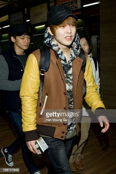 Xiumin of boy band EXOM is seen at Incheon International Airport on January 19 2013 in Incheon South Korea