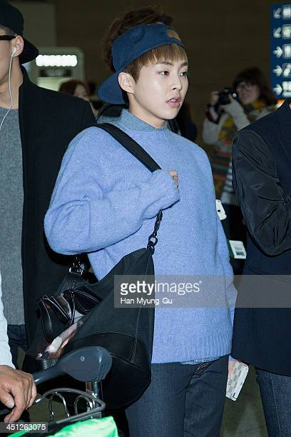 Xiumin of leading boy band EXOM is seen on departure at Incheon International Airport on November 21 2013 in Incheon South Korea