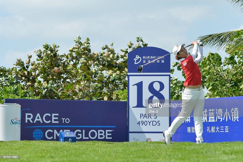 Xiyu Lin of China plays a shot on the 18th hole during the third round of the Blue Bay LPGA at Jian Lake Blue Bay golf course on November 10, 2017 in Hainan Island, China.