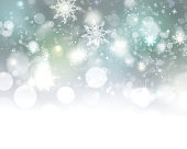 Winter holiday snowflake blur background.Christmas glowing abstract defocused illustration.