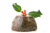 xmas pudding with sprig of holly