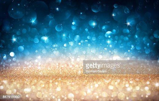 Xmas fond brillant - Bokeh or et bleu : Photo