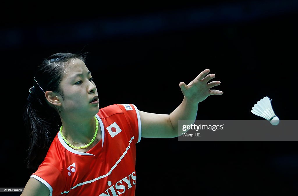 XNozomi Okuhara of Japan prepares to serve to Wang Yihan of China Women's singles match at the 2016 Badminton Asia Championships, on April 29, 2016 in Wuhan, Hubei province, China.