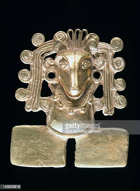 Xochipilli gold breastplate from the Treasury of the Tomb 7 in Monte Alban Mexico Mixtec Civilization postclassical period 14th15th Century Oaxaca...