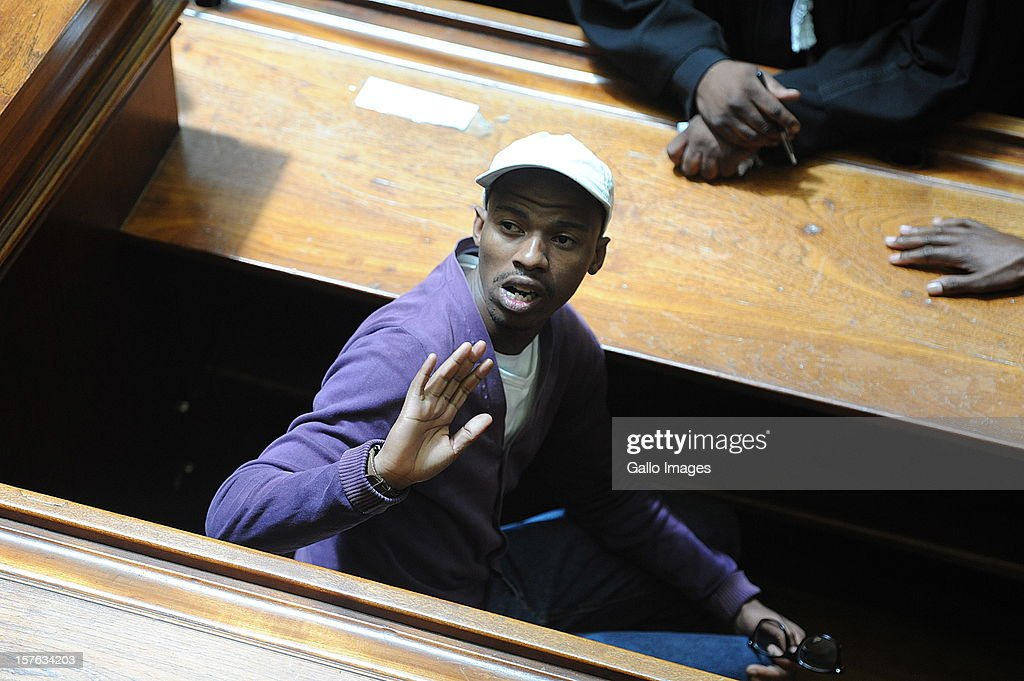 Xolile Mngeni in the Cape Town High Court on December 5, 2012 in Cape Town, South Africa. Mngeni was sentenced to life in prison for the murder of Anni Dewani.