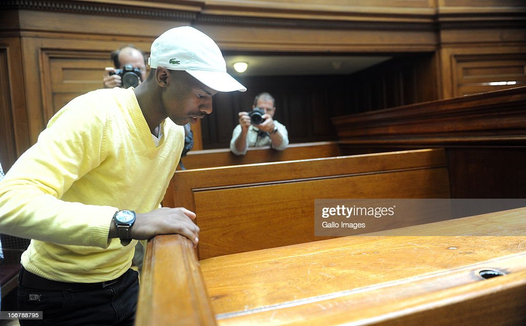 (SOUTH AFRICA OUT Xolile Mngeni in the Cape Town High Court on November 21, 2012 in Cape Town, South Africa. Mngeni was found guilty of robbery with aggravating circumstances, premeditated murder and illegal possession of a firearm and ammunition, after his involvement with the murder of Anni Dewani, allegedly plotted by her British husband Shrien Dewani.