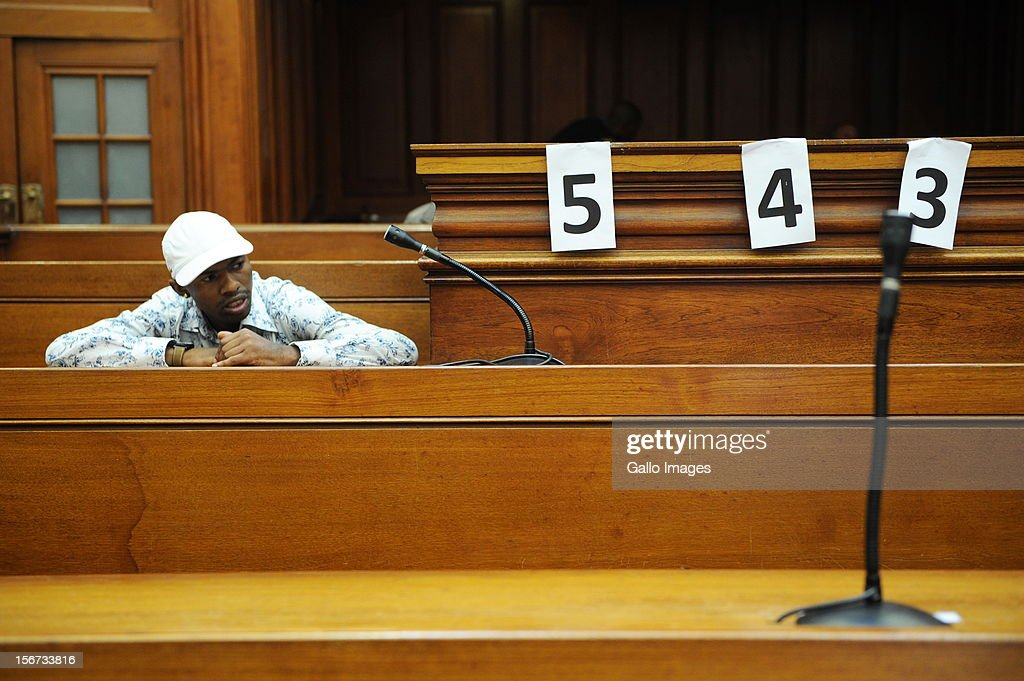 Xolile Mngeni in the Cape Town High Court on November19, 2012 in Cape Town, South Africa. Mngeni was found guilty of robbery with aggravating circumstances, premeditated murder and illegal possession of a firearm and ammunition, after his involvement with the murder of Anni Dewani, allegedly plotted by her British husband Shrien Dewani.