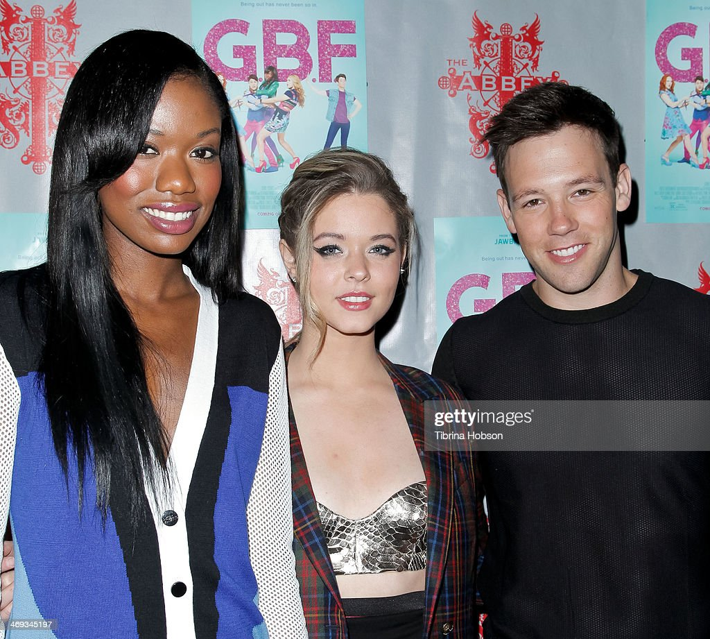 Xosha Roquemore, <a gi-track='captionPersonalityLinkClicked' href=/galleries/search?phrase=Sasha+Pieterse&family=editorial&specificpeople=2237740 ng-click='$event.stopPropagation()'>Sasha Pieterse</a> and Taylor Frey attends the 'G.B.F.' DVD release party at The Abbey on February 13, 2014 in West Hollywood, California.