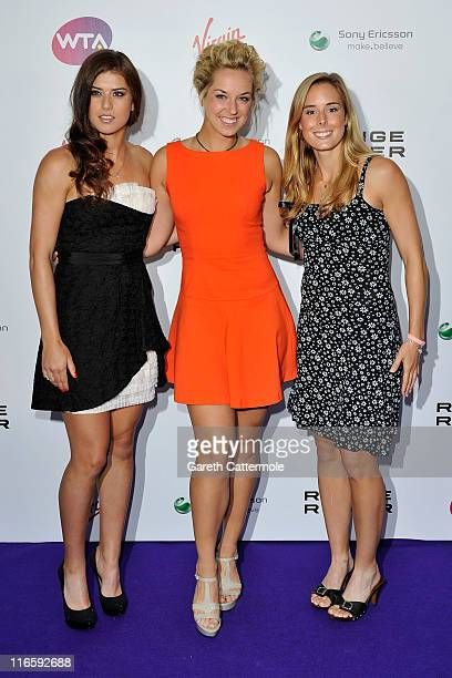Xperia Hot Shots trio Sorana Cirstea Sabine Lisiki and Alize Cornet arrive at the WTA Tour PreWimbledon Party at The Roof Gardens Kensington on June...