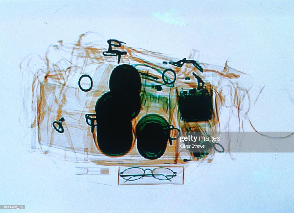 X-ray of cabin luggage at Sydney Airport, Sydney, Australia : Stock Photo