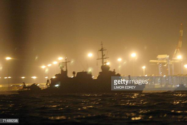 An Israeli SAAR 5 a longrange missile ship designed in cooperation with the Israeli military limps into the southern Israeli port of Ashdod late 15...