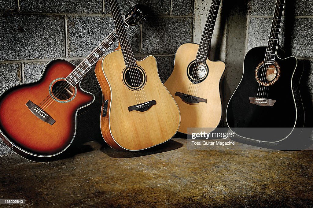 LTD XTone AC10E Ibanez AW250ECE LG Lag Tramontane T66DCE and Washburn WD 10SCE acoustic guitars During a studio shoot for Total Guitar Magazine April...