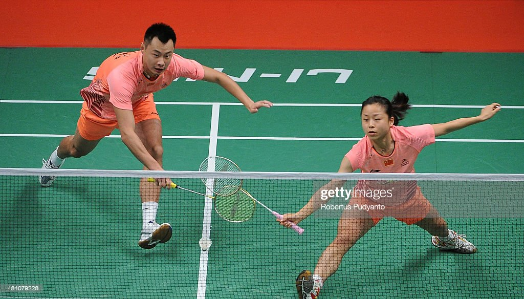 <a gi-track='captionPersonalityLinkClicked' href=/galleries/search?phrase=Xu+Chen+-+Badminton+Player&family=editorial&specificpeople=9612195 ng-click='$event.stopPropagation()'>Xu Chen</a> and <a gi-track='captionPersonalityLinkClicked' href=/galleries/search?phrase=Ma+Jin&family=editorial&specificpeople=5747194 ng-click='$event.stopPropagation()'>Ma Jin</a> of China compete against Liu Cheng and Bao Yixin of China in the semi final match of the 2015 Total BWF World Championship at Istora Senayan on August 15, 2015 in Jakarta, Indonesia.