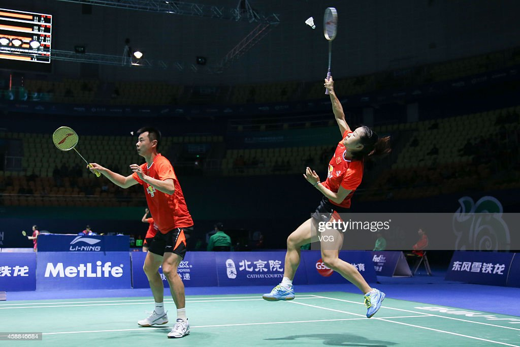 Xu Chen (L) and <a gi-track='captionPersonalityLinkClicked' href=/galleries/search?phrase=Ma+Jin&family=editorial&specificpeople=5747194 ng-click='$event.stopPropagation()'>Ma Jin</a> of China in action against Sam Magee and Chloe Magee of Ireland in the Mixed Doubles match on day two of the BWF 2014 Thaihot China Open at Haixia Olympic Sport Center on November 12, 2014 in Fuzhou, Fujian province of China.