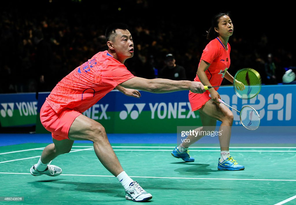 <a gi-track='captionPersonalityLinkClicked' href=/galleries/search?phrase=Xu+Chen+-+Badminton+Player&family=editorial&specificpeople=9612195 ng-click='$event.stopPropagation()'>Xu Chen</a> and <a gi-track='captionPersonalityLinkClicked' href=/galleries/search?phrase=Ma+Jin&family=editorial&specificpeople=5747194 ng-click='$event.stopPropagation()'>Ma Jin</a> of China in action during Mixed Doubles match against Praveen Jordan and Debby Susanto of Indonesia on day two of YONEX All England Open Badminton Championships at Birmingham Barclaycard Arena on March 4, 2015 in Birmingham, England.