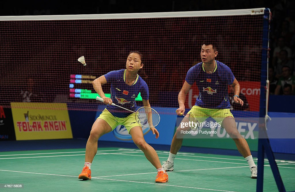 <a gi-track='captionPersonalityLinkClicked' href=/galleries/search?phrase=Xu+Chen+-+Badminton+Player&family=editorial&specificpeople=9612195 ng-click='$event.stopPropagation()'>Xu Chen</a> and <a gi-track='captionPersonalityLinkClicked' href=/galleries/search?phrase=Ma+Jin&family=editorial&specificpeople=5747194 ng-click='$event.stopPropagation()'>Ma Jin</a> of China return a shot against Zhang Nan and Zhao Yunlei of China during Mixed Double's Final of the 2015 BCA Indonesia Open at Istora Senayan on June 7, 2015 in Jakarta, Indonesia.