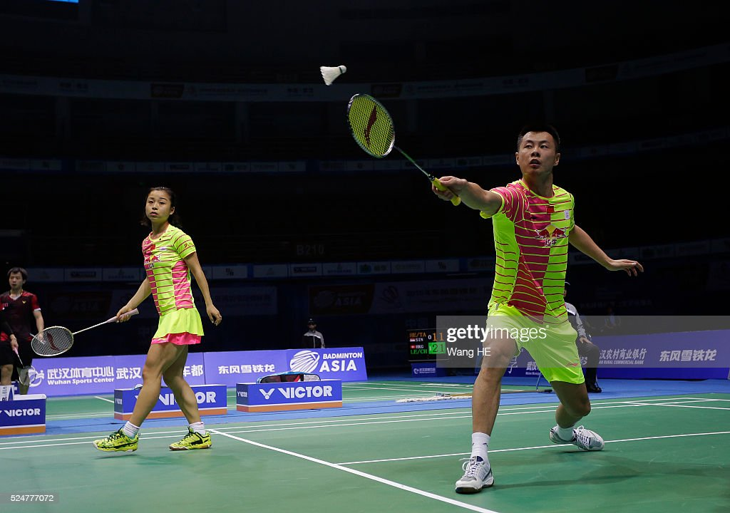 <a gi-track='captionPersonalityLinkClicked' href=/galleries/search?phrase=Xu+Chen+-+Badminton+Player&family=editorial&specificpeople=9612195 ng-click='$event.stopPropagation()'>Xu Chen</a> of china hits a return next to him partner <a gi-track='captionPersonalityLinkClicked' href=/galleries/search?phrase=Ma+Jin&family=editorial&specificpeople=5747194 ng-click='$event.stopPropagation()'>Ma Jin</a> during their mixed doubles match against Artur Niyazov and Veronica sorokina of Kazakhstan at the 2016 Badminton Asia Championships on April 26, 2016 in Wuhan, Hubei province, China.