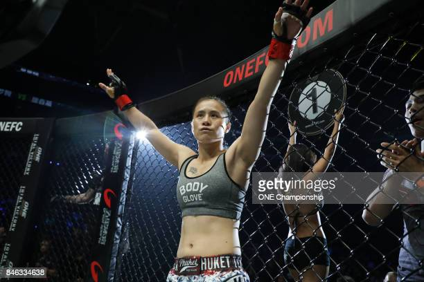 Xu Chun Yan prepares for her bout against Eh Ya Nut during ONE Championship Shanghai at the Shanghai Oriental Sports Center on September 02 2017 in...