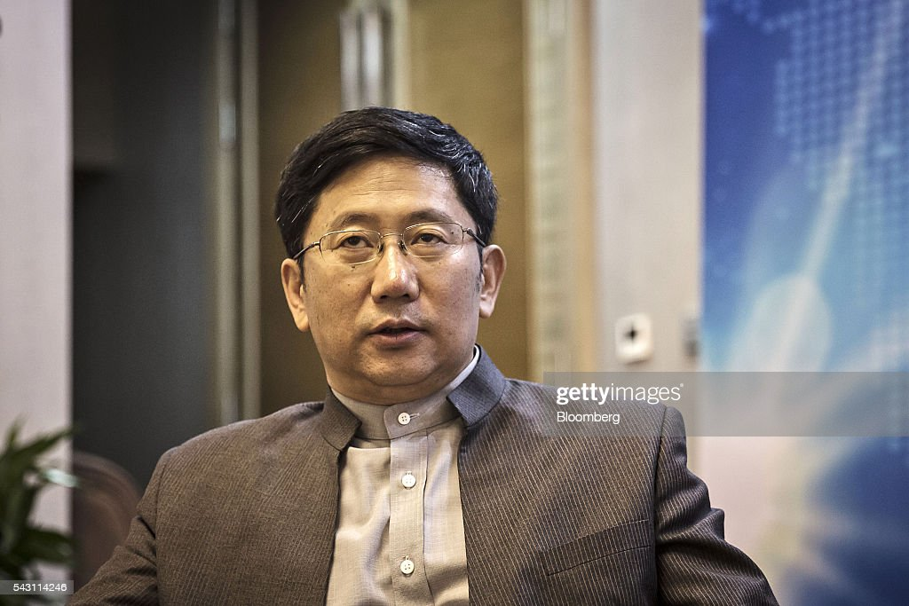 Xu Jinghong, chairman of Tsinghua Holdings Co. Ltd., speaks during a Bloomberg Television interview on the sidelines of the World Economic Forum (WEF) Annual Meeting of the New Champions in Tianjin, China, on Sunday, June 26, 2016. The meeting runs through June 28. Photographer: Qilai Shen/Bloomberg via Getty Images