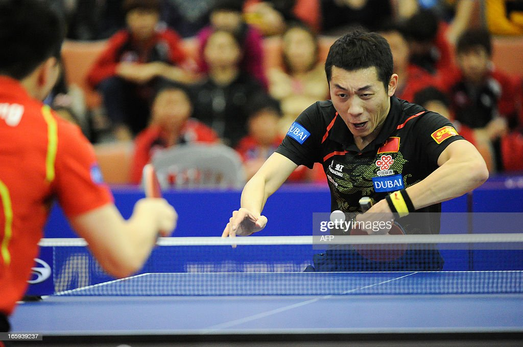 Xu Xin of China competes during the men's singles Final table tennis match of the ITTF Korea Open in Incheon, South Korea on April 7, 2013. AFP PHOTO/KIM Doo-Ho