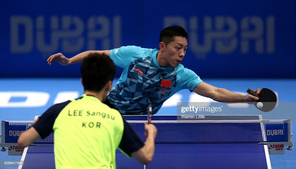 Xu Xin of China in action during the Men's Quarter Final match against Lee Sangsu of Korea during day two of the Nakheel Table Tennis Asian Cup 2016 at Dubai World Trade Centre on April 29, 2016 in Dubai, United Arab Emirates.
