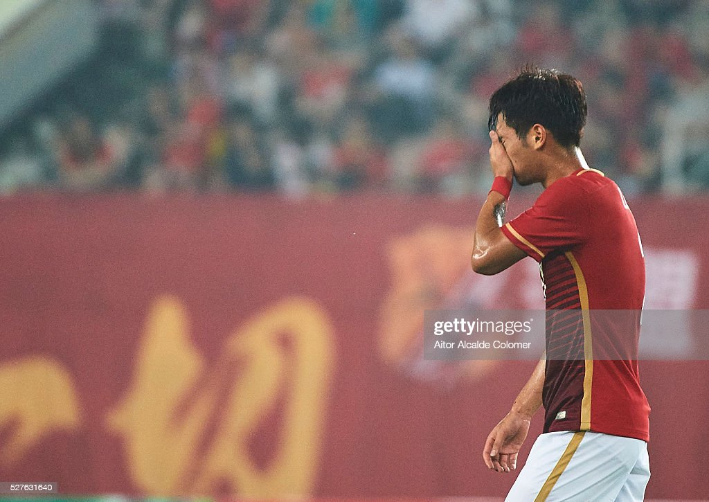 Xu Xin of Guangzhou Evergrande reacts during the AFC Asian Champions League match between Guangzhou Evergrande FC and Sydney FC at Tianhe Stadium on May 3, 2016 in Guangzhou, China.