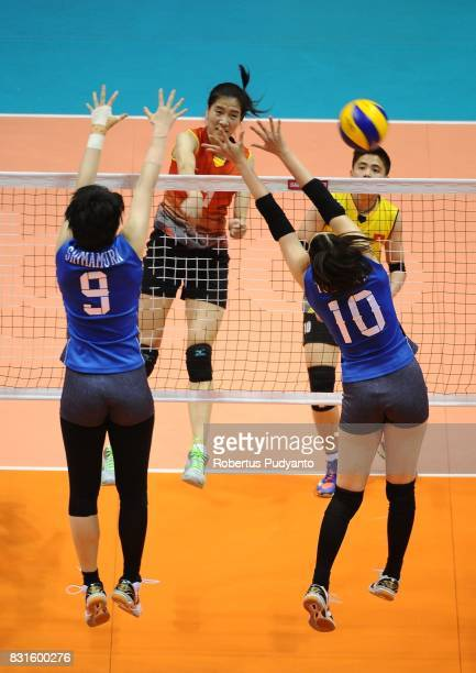 Xuan Doan Thi of Vietnam spikes during the 19th Asian Senior Women's Volleyball Championship 2017 Quarterfinal match between Japan and Vietnam at...