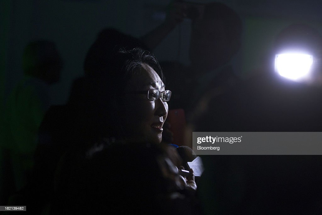 Xue Hong, chairman of the board of HTC Corp., speaks to the media during the HTC One smartphone launch in London, U.K., on Tuesday, Feb. 19, 2013. HTC Corp. introduced its new flagship HTC One smartphone at a launch event in London today. Photographer: Simon Dawson/Bloomberg via Getty Images