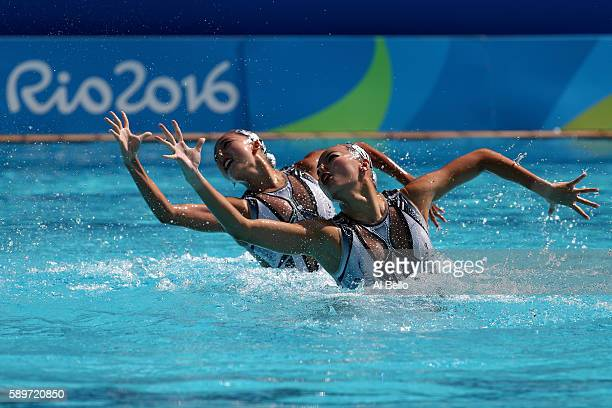 Xuechen Huang and Wenyan Sun of China compete in the Women's Duets Synchronised Swimming Technical Routine Preliminary Round on Day 10 of the Rio...