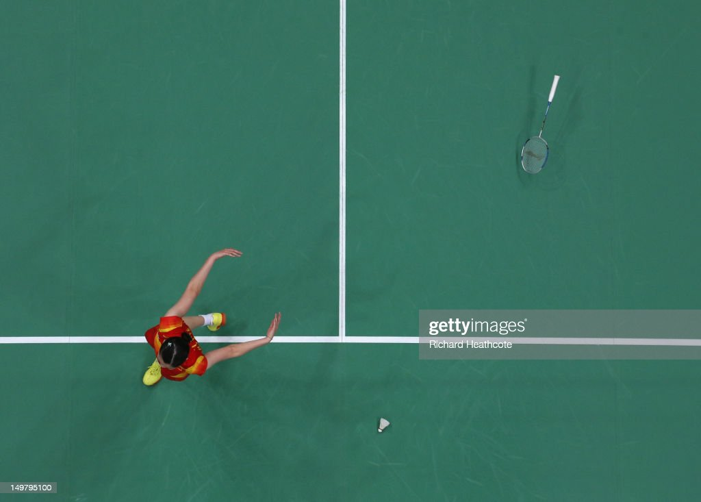 Xuerui Li of China celebrates winning her Women's Singles Badminton Gold Medal match against Yihan Wang of China on Day 8 of the London 2012 Olympic Games at Wembley Arena on August 4, 2012 in London, England.