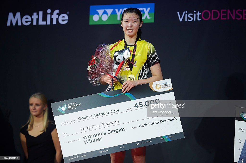 Xuerui Li of China on the podium receiving gold in the Women's Single Final during the Yonex Denmark Open MetLife BWF World Superseries at Odense Idratspark on October 19, 2014 in Odense, Denmark.