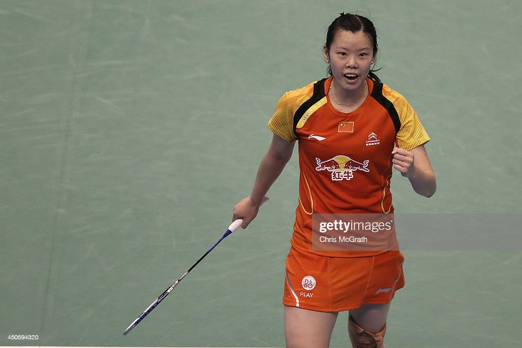 Xuerui Li of China rcelebrates victory against Ji Hyun Sung of Korea during their Women's Singles semi final match on day five of the Badminton YONEX Open on June 14, 2014 in Tokyo, Japan.