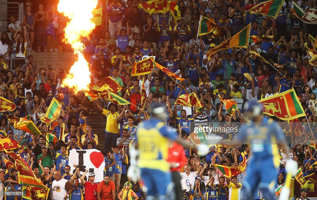xx Sri Lankan fans celebrate victory at the end of game one of the Twenty20 international match between Australia and Sri Lanka at ANZ Stadium on January 26, 2013 in Sydney, Australia.