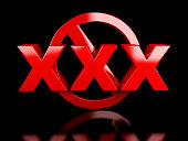 xxx adults only content sign. Age limit icon on black background 3d illustration