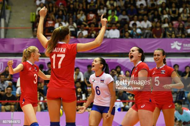 Russian players celebrate a point during the Women Preliminary Round Pool D Match 24 Russia v Brazil on day four of the 29th Summer Universiade...