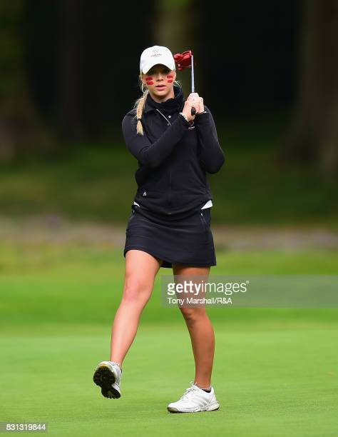 xxxx plays her first shot on the 1st tee during The Ladies' and Girls' Home Internationals at Little Aston Golf Club on August 11 2017 in Sutton...