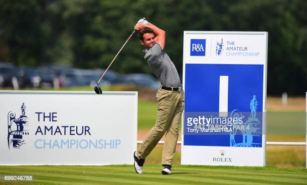 xxxx plays his first shot on the first tee during Day 3 of The Amateur Championship at Royal St George on June 21 2017 in Sandwich England